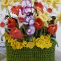 Knitted pot of flowers