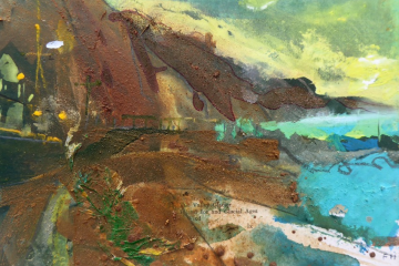 Esplanade Foil at Dawn, Sidmouth. Gouage, collage Mercia mudstone, Otter sandstone on card